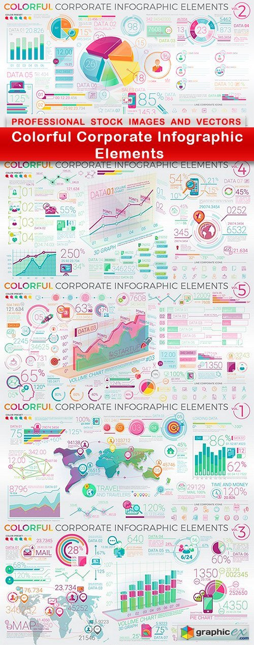 Colorful Corporate Infographic Elements - 5 EPS