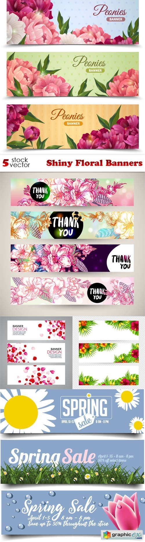 Shiny Floral Banners