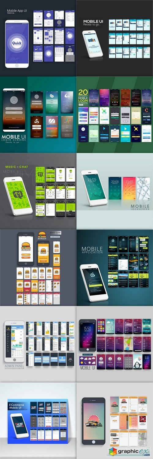 Collection of different mobile login and app (Mobile screens premium Vector)