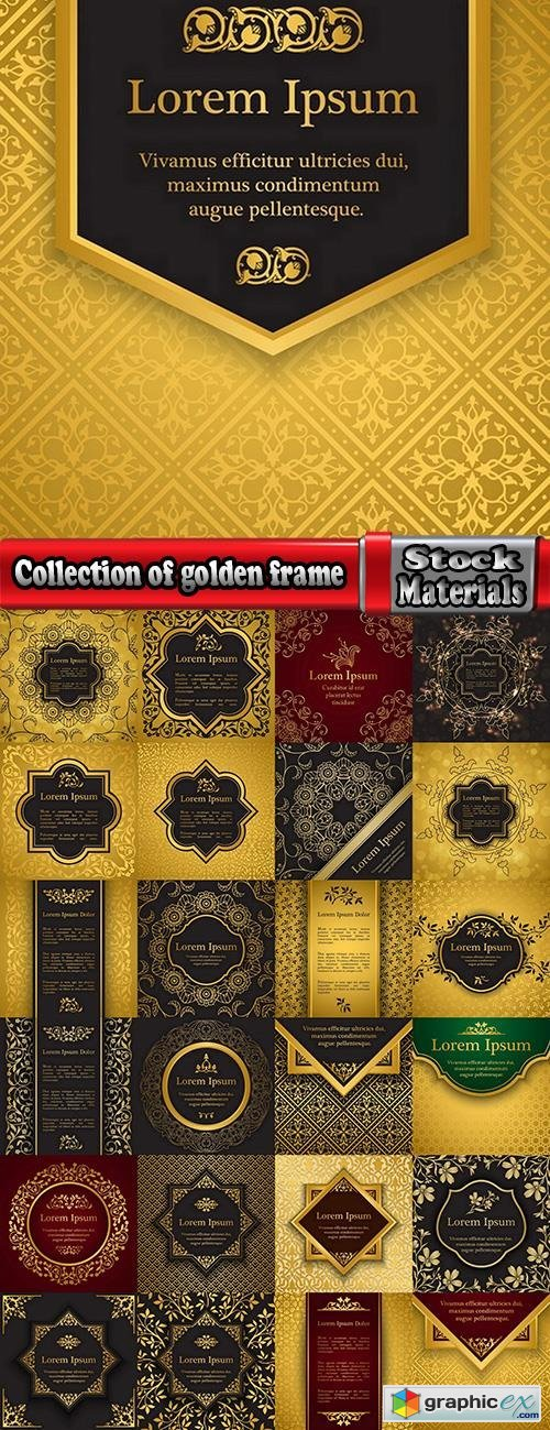 Collection of golden frame border invitation card cover ethnic ornament vector pattern picture 25 EPS