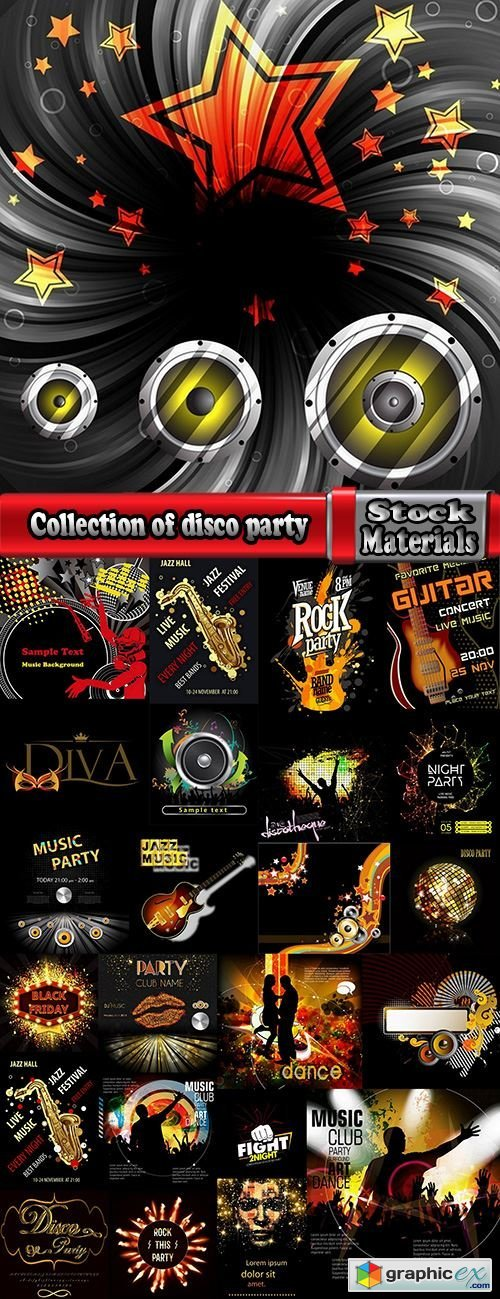 Collection of disco party flyer banner fireworks rock concert jazz guitar 24 EPS