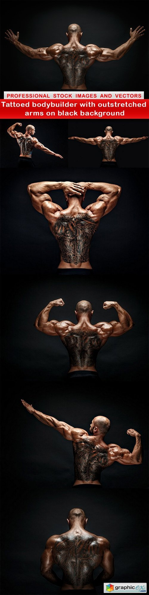 Tattoed bodybuilder with outstretched arms on black background - 7 UHQ JPEG