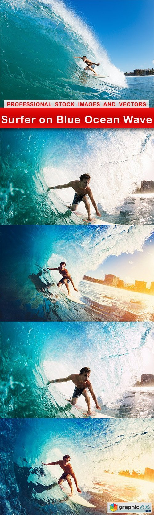 Surfer on Blue Ocean Wave - 5 UHQ JPEG