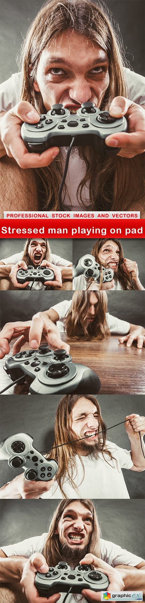 Stressed man playing on pad - 6 UHQ JPEG