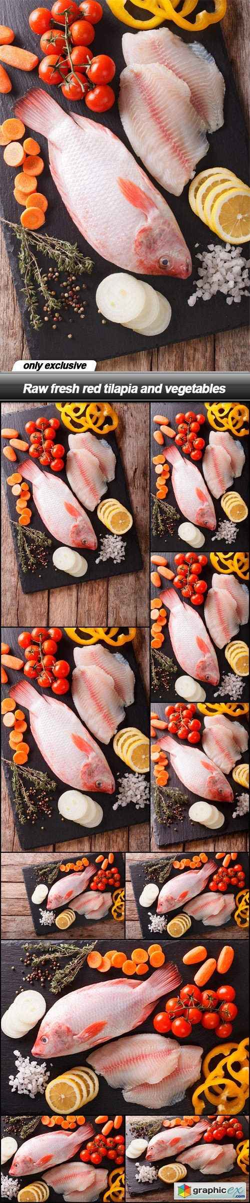 Raw fresh red tilapia and vegetables - 10 UHQ JPEG