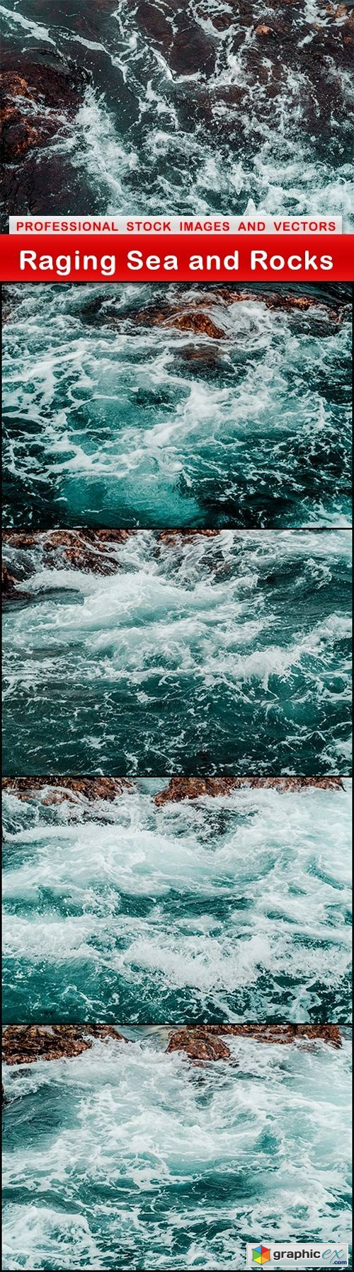 Raging Sea and Rocks - 5 UHQ JPEG