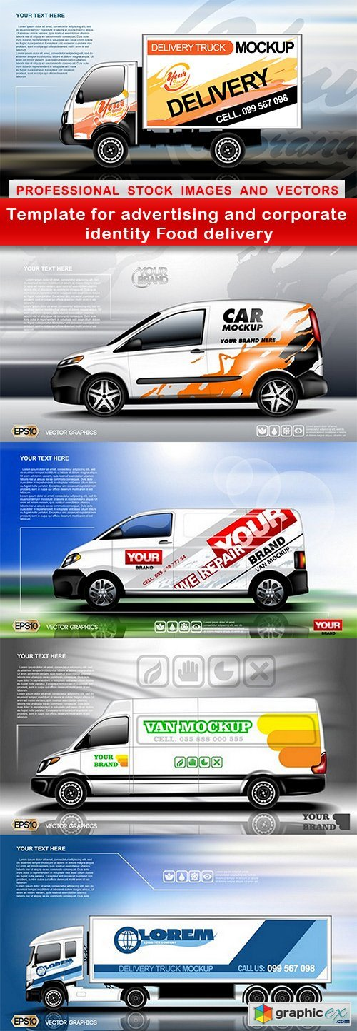 Template for advertising and corporate identity Food delivery - 5 EPS