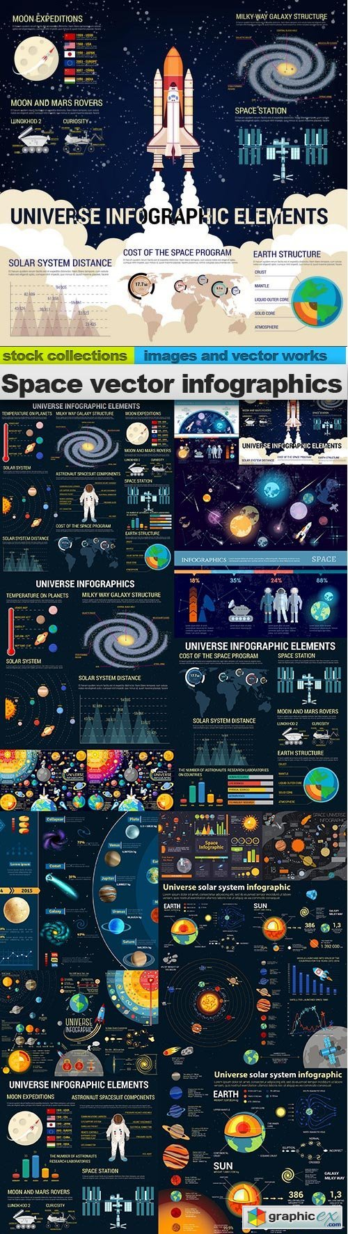 Space vector infographics, 15 x EPS