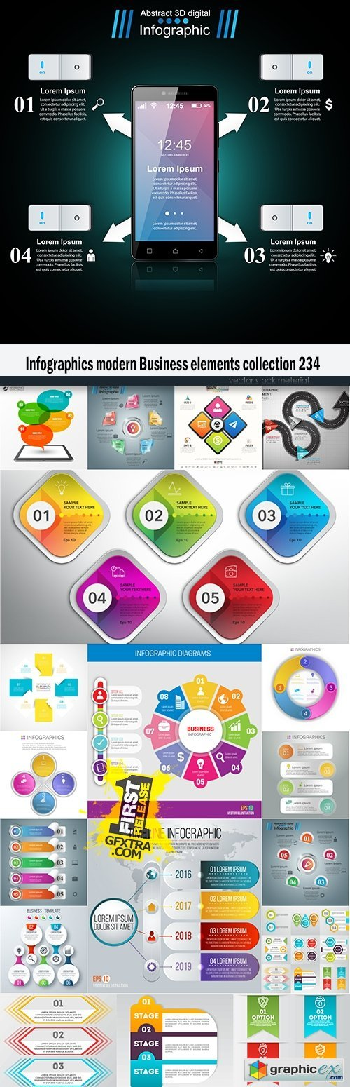 Infographics modern Business elements collection 234