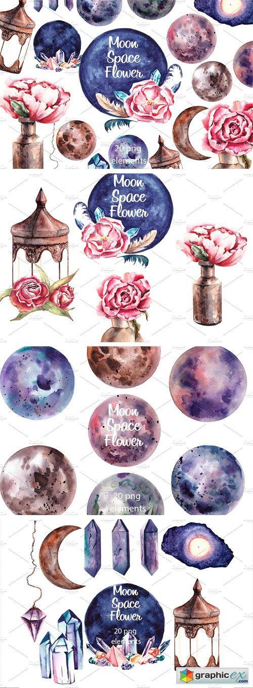 Moon Space Flower Spring Clipart