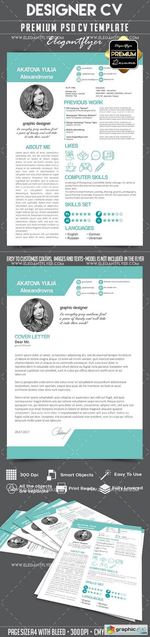 CV � Premium CV and Cover Letter PSD Template