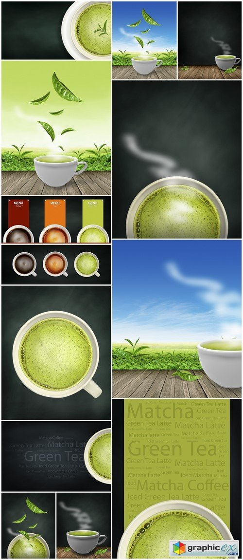 Green tea. Background 13X JPEG
