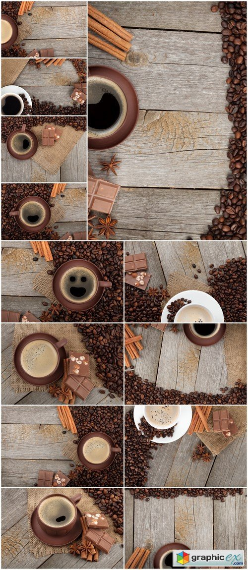 Coffee cup with spices and chocolate on wooden table texture 13X JPEG