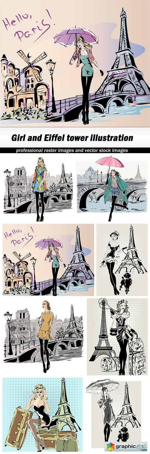 Girl and Eiffel tower illustration - 8 EPS
