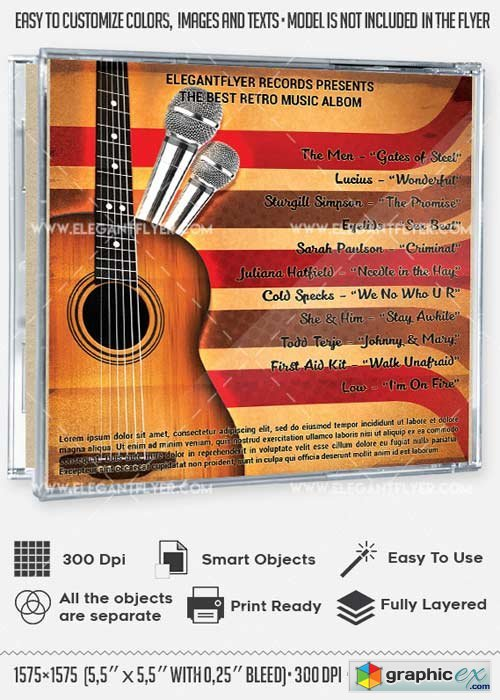 Retro Music V2 CD Cover PSD Template