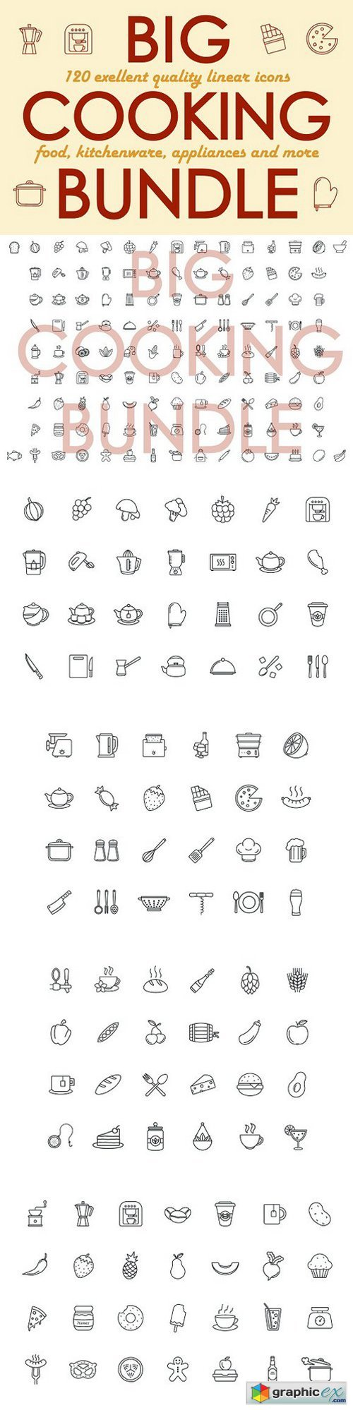 120+ Cooking linear icons bundle