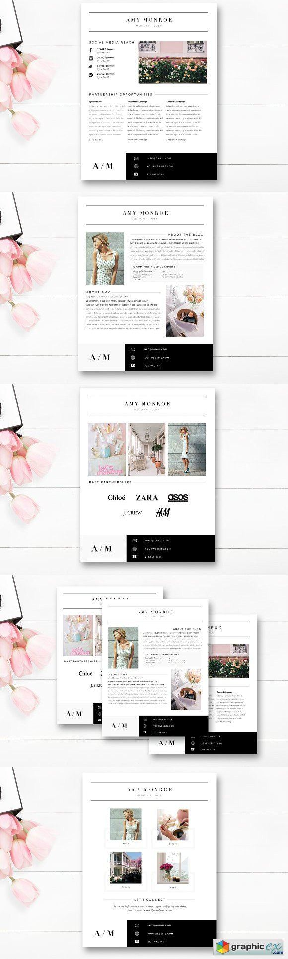 4 Page Blogger Media Kit Template Free Download Vector Stock Image