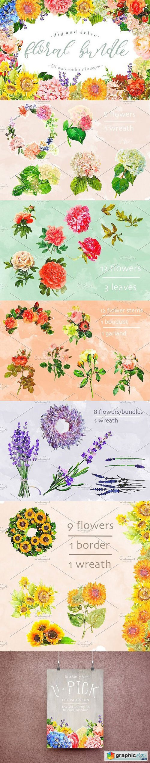 Watercolour Floral Bundle