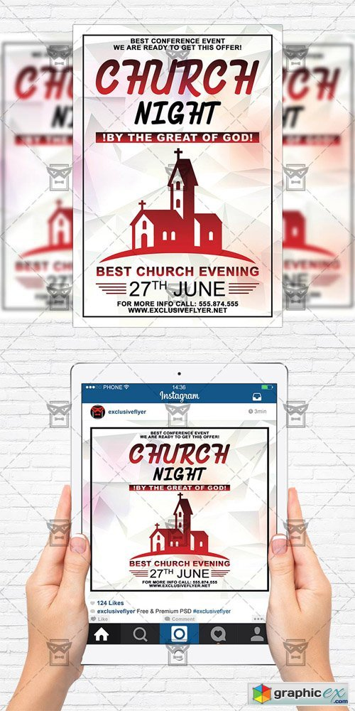 Church Night - Flyer Template + Instagram Size Flyer
