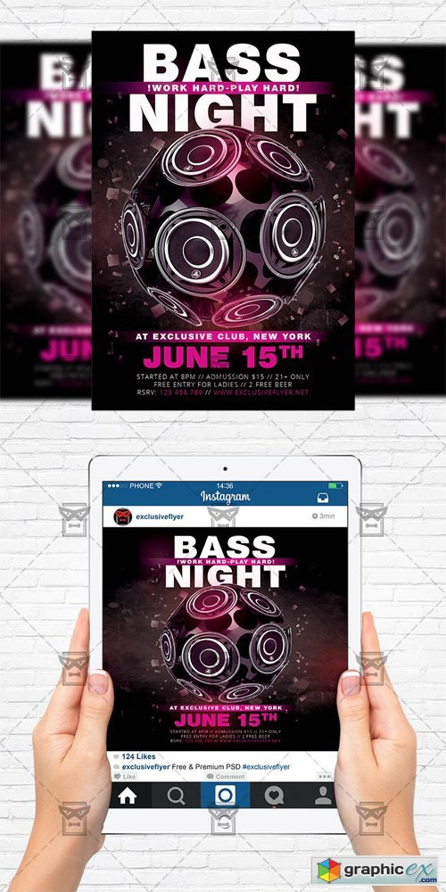 Bass Night - Flyer Template + Instagram Size Flyer
