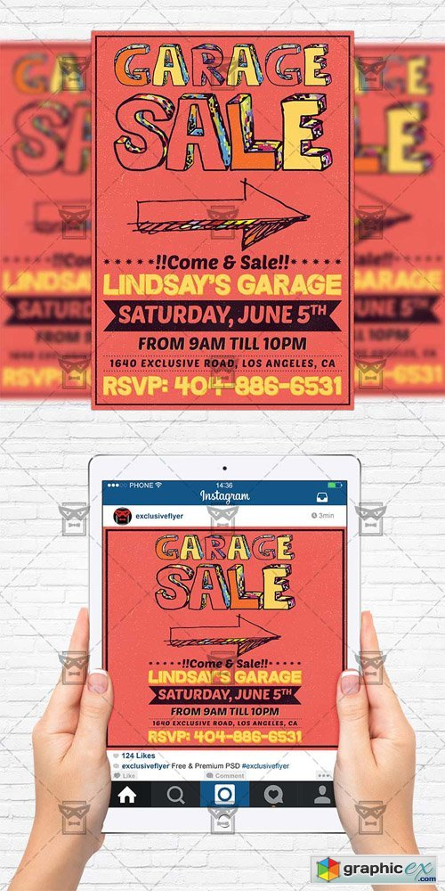 Garage Sale - Flyer Template + Instagram Size Flyer
