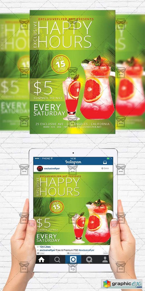 Exclusive Happy Hours - Flyer Template + Instagram Size Flyer