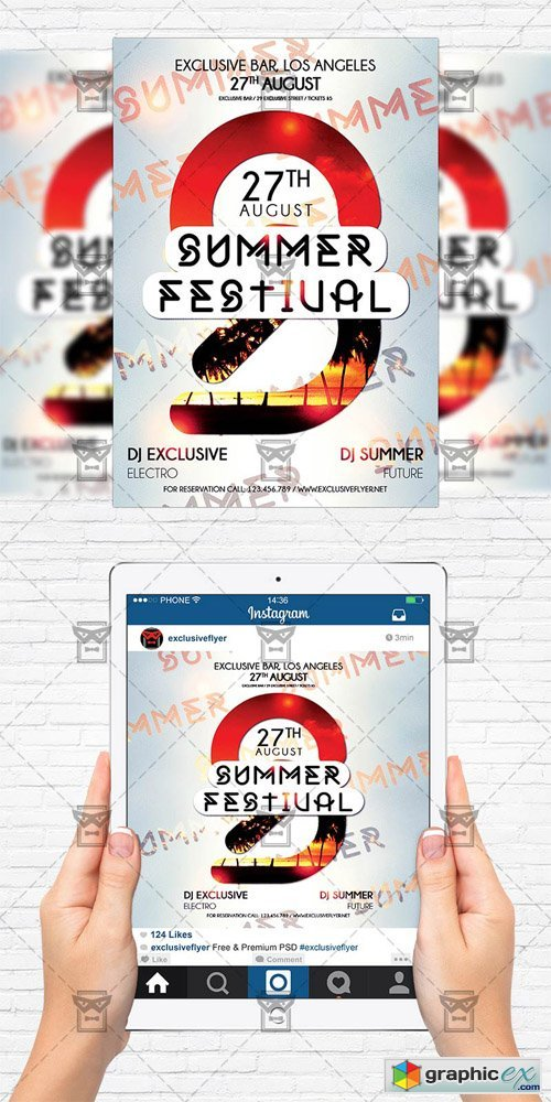 Summer Festival - Flyer Template + Instagram Size Flyer