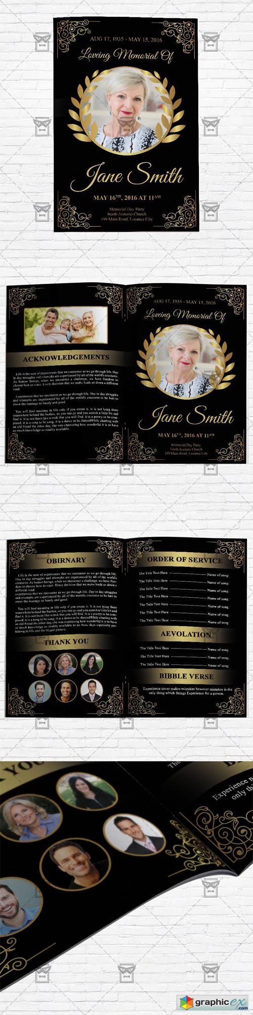 Funeral Program Vol 3 - Bifold Brochure Template