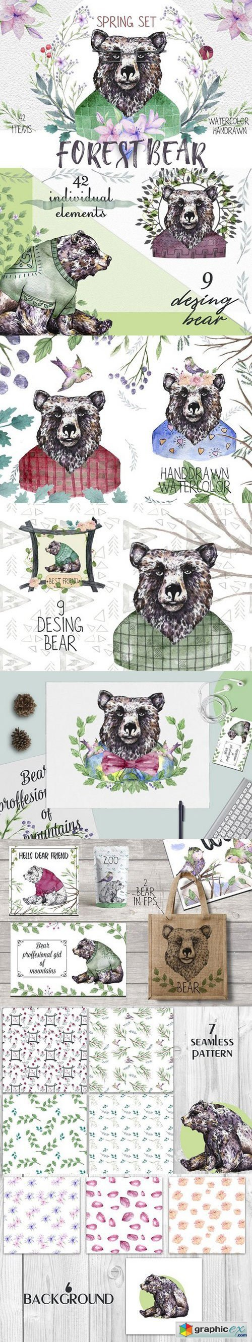 Forest Bear. Spring set