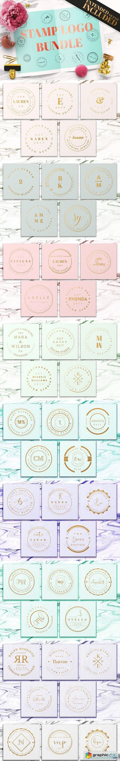 90 Stamp Logo Templates Bundle