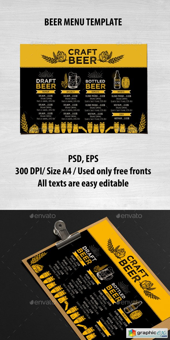 Beer Menu Template 15896161