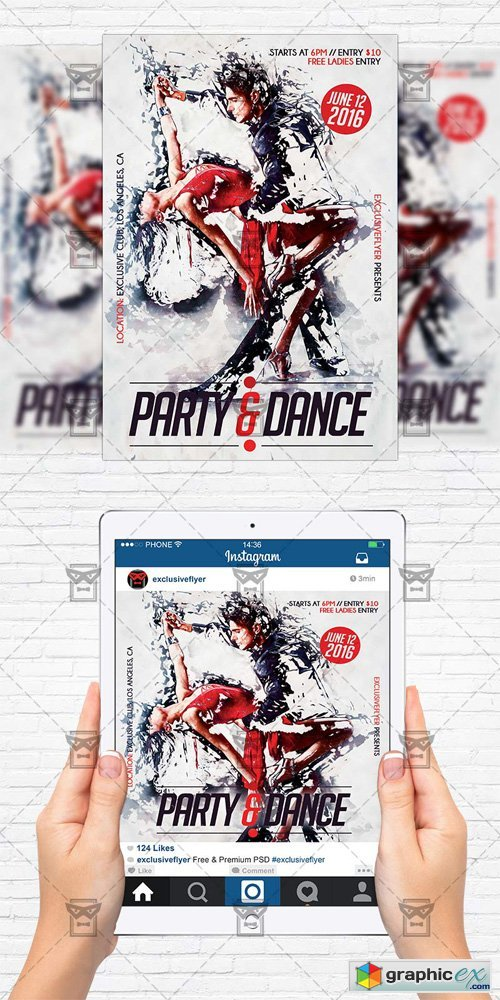 Party and Dance - Flyer Template + Instagram Size Flyer