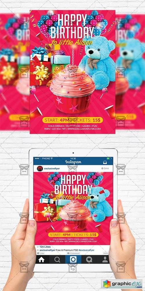 Kids Birthday Party - Flyer Template + Instagram Size Flyer