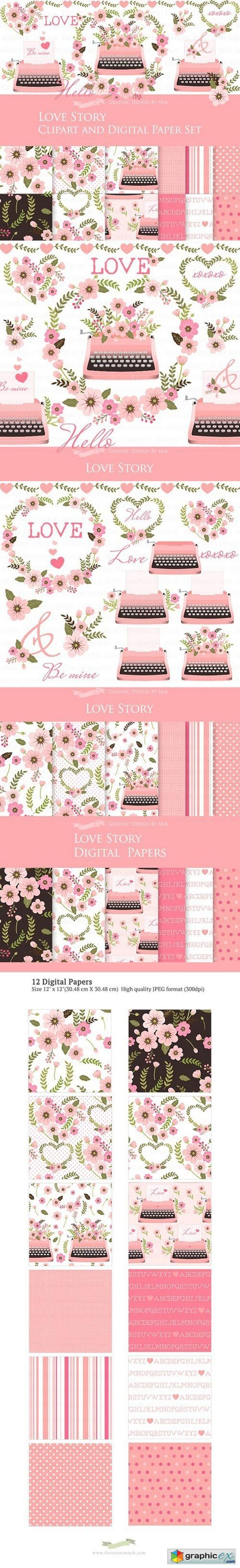 Love Story Pink Clipart+Pattern set