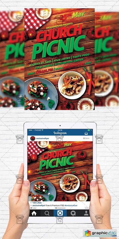 Church Picnic 2 - Flyer Template + Instagram Size Flyer