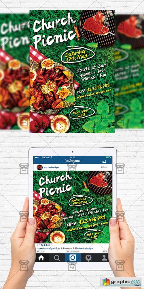Church Picnic - Flyer Template + Instagram Size Flyer