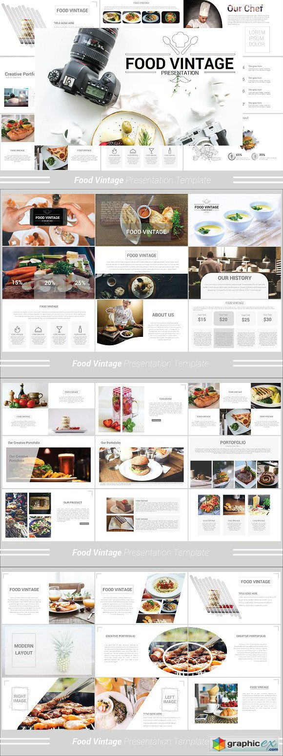 Food Vintage Powerpoint Template Free Download Vector Stock Image