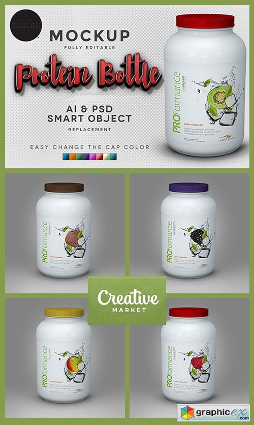 Realistic Protein Bottle Mockup