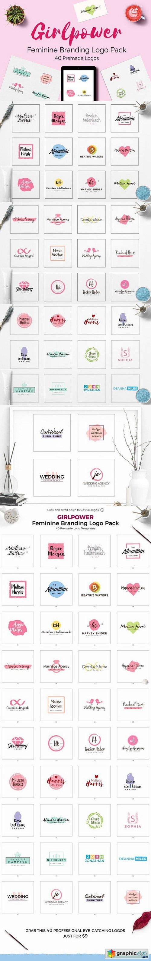 GIRLPOWER Feminine Branding Logo Set