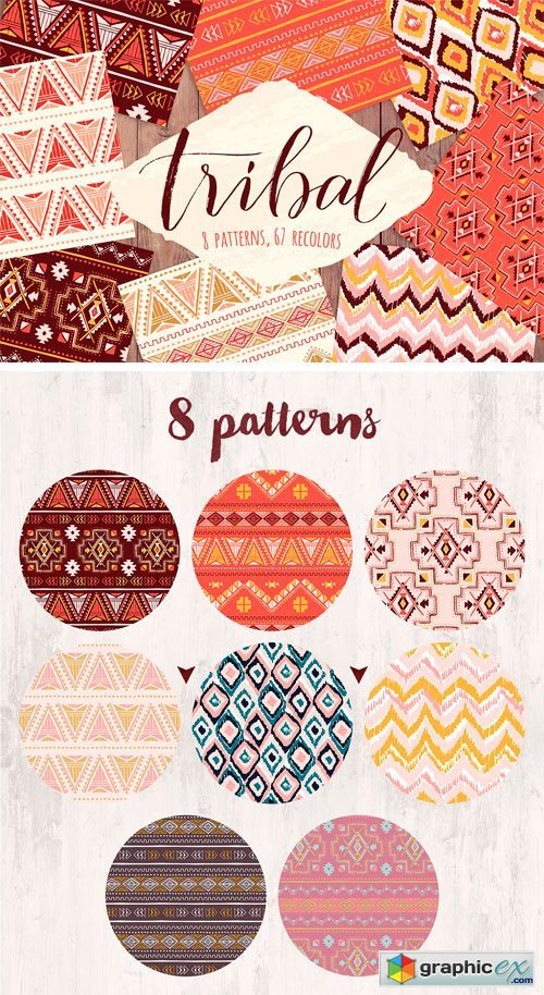 "Vector ""Tribal"" Seamless Pattern Set"