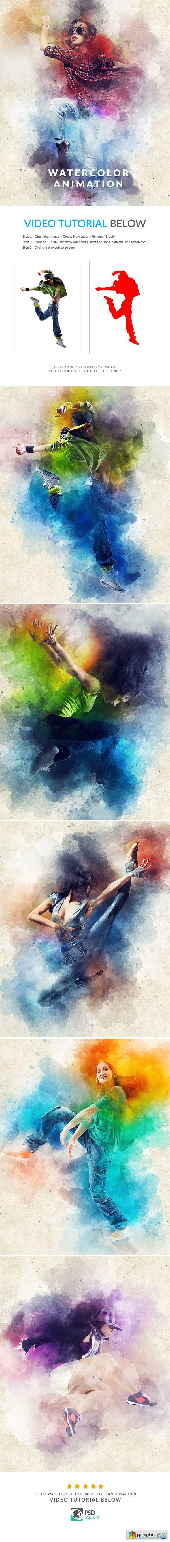 Graphicriver Watercolor Animation Photoshop Action
