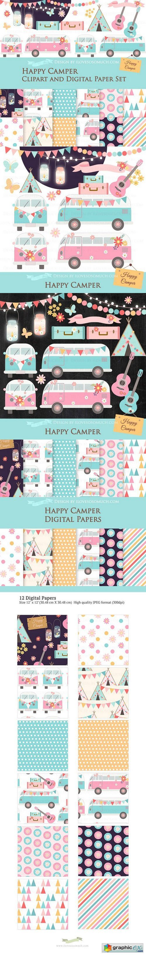 Happy Camper Clipart+Pattern set