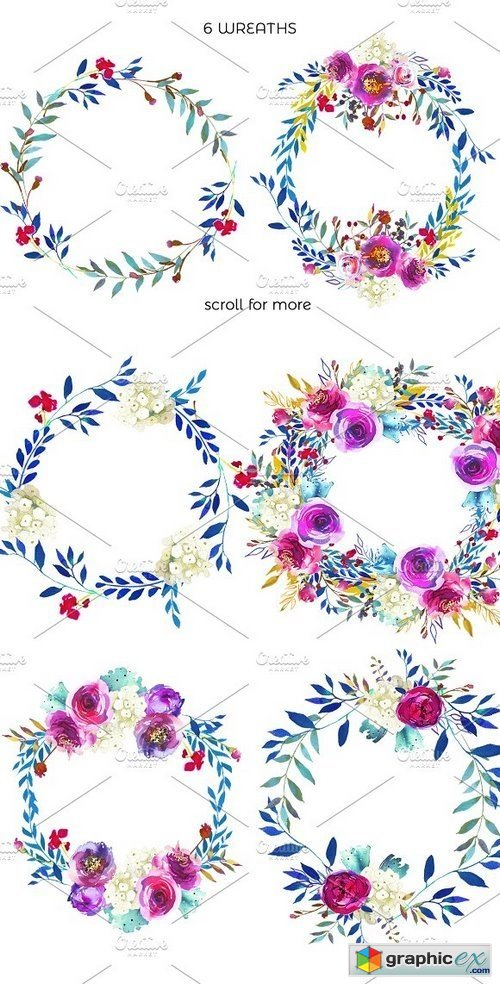 Angie Bright Watercolor Floral Set
