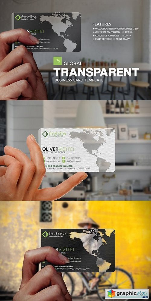 Global Transparent Business Card » Free Download Vector