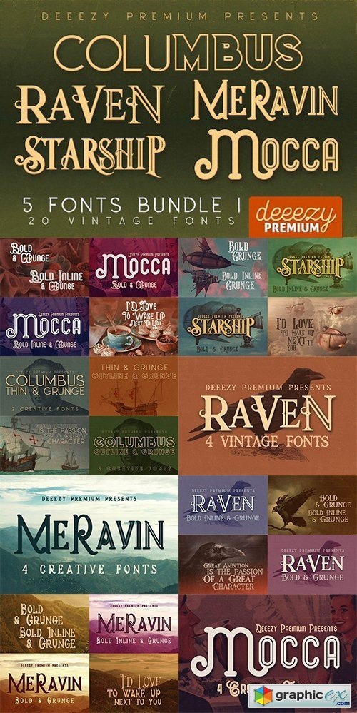 5 Fonts Bundle 1
