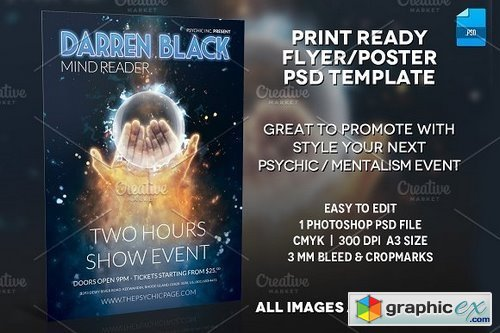 Mentalist / Psychic Poster Template » Free Download Vector