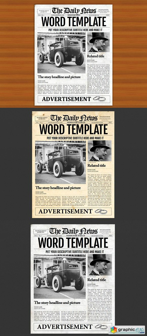 Microsoft Word Newspaper Template Free Download Vector Stock Image