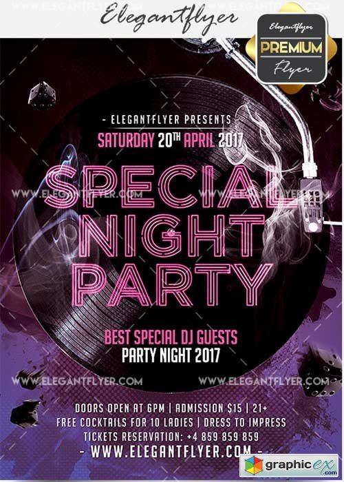 Special Night Party V18 Flyer PSD Template + Facebook Cover