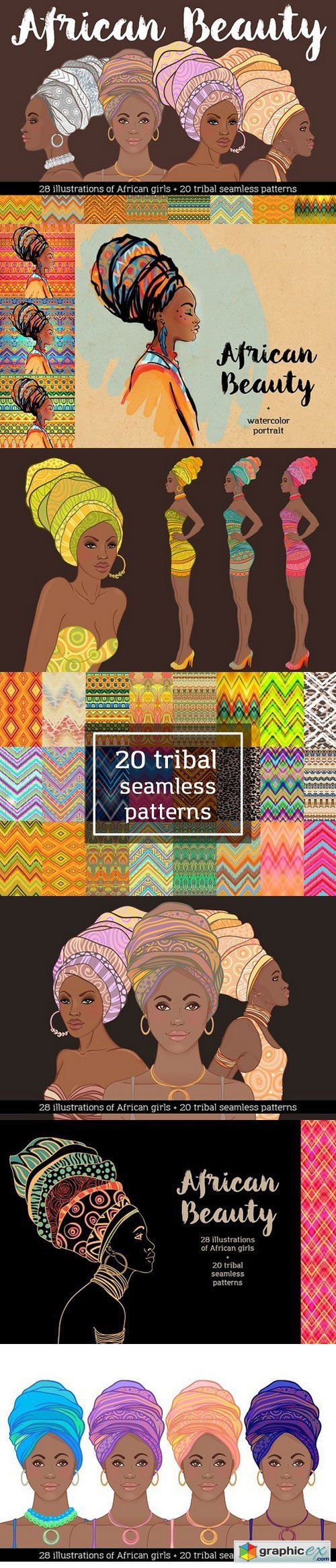 African Beauty Vector Set