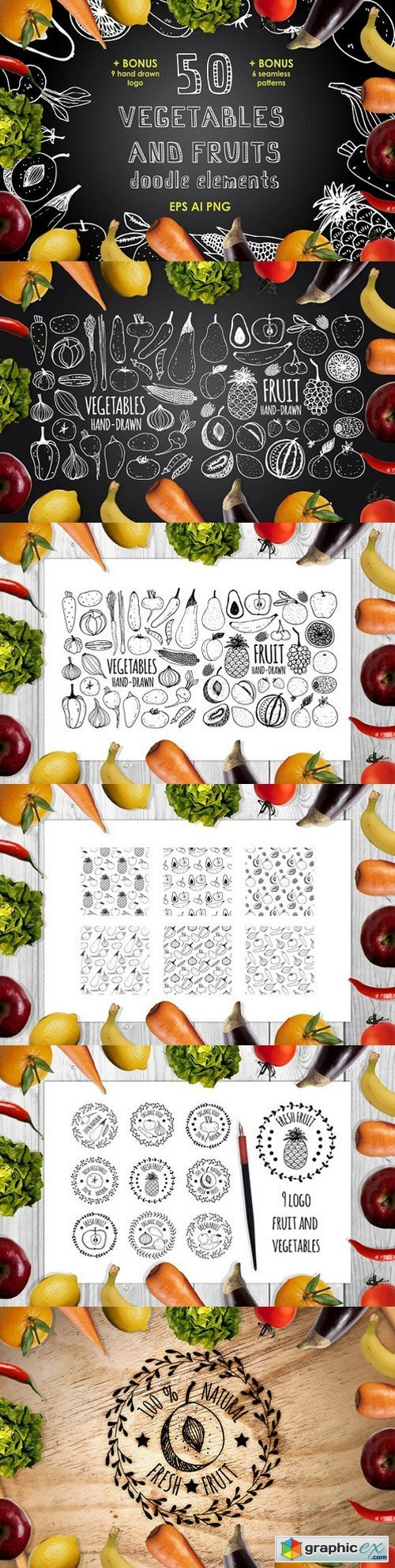 50 vegetables and fruits elements